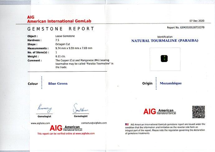 AIG Cert 6.11 Paraibe Tourmaline