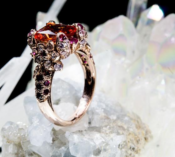 padparadscha flower sapphire ring-5-2