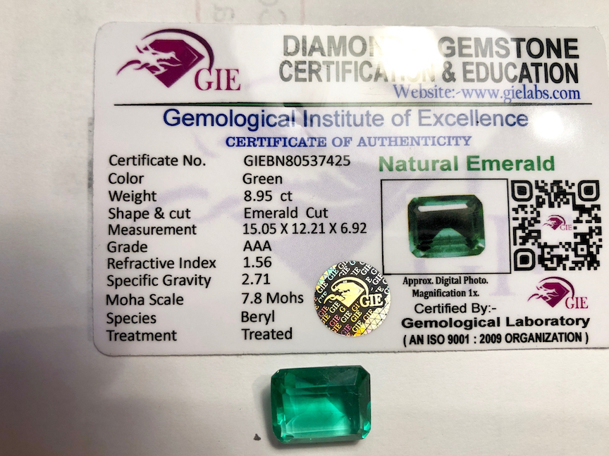 Fake emeralds, with fake lab certification - Gem Related